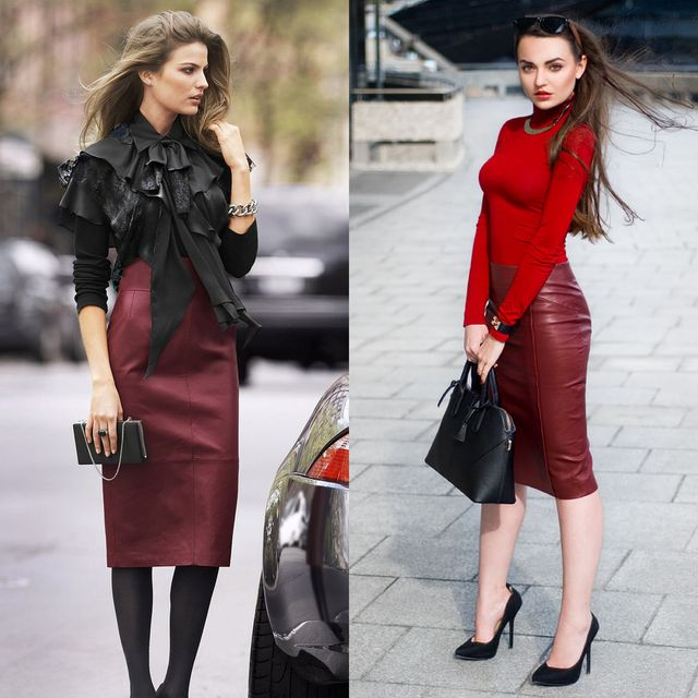 Burgundy leather skirt outfits
