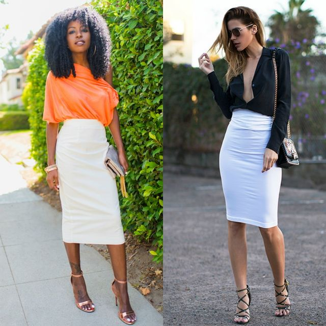 High waisted white pencil skirt for summers