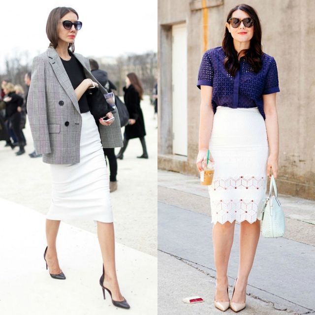 Elegant outfits with high waisted white pencil skirt