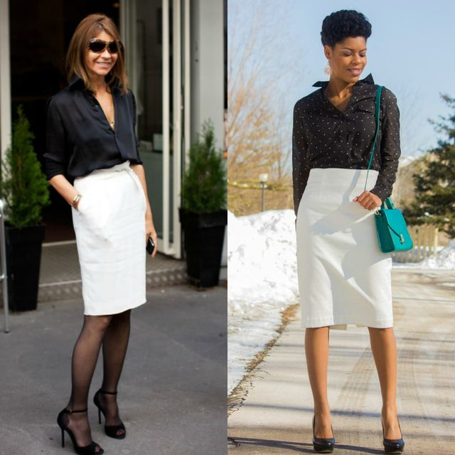 Midi white skirt outfits matched with black tops