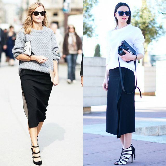 Long black pencil skirts outfits