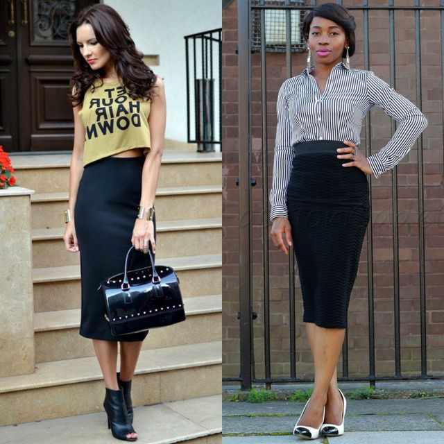 Long black pencil skirt outfits