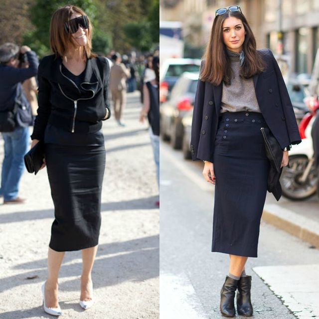 Long black pencil skirt outfit ideas