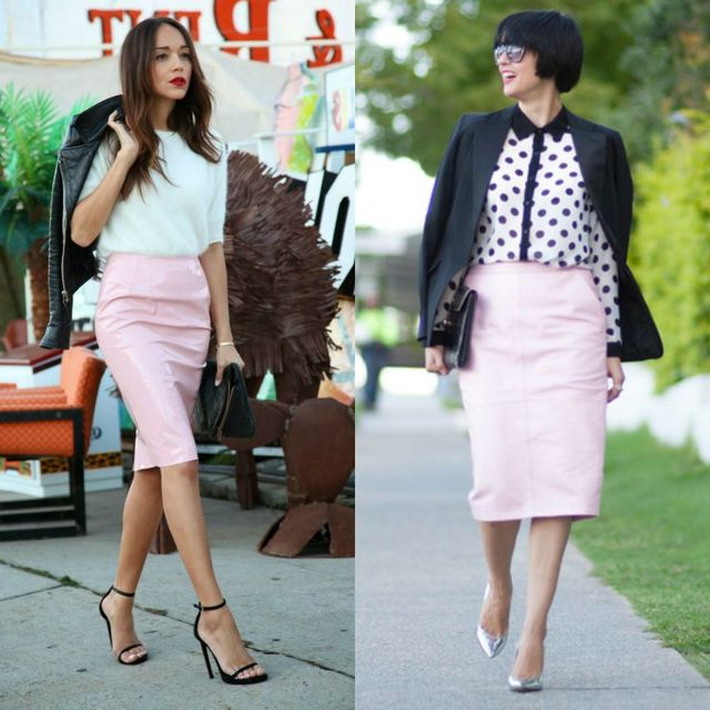 Pink leather skirts