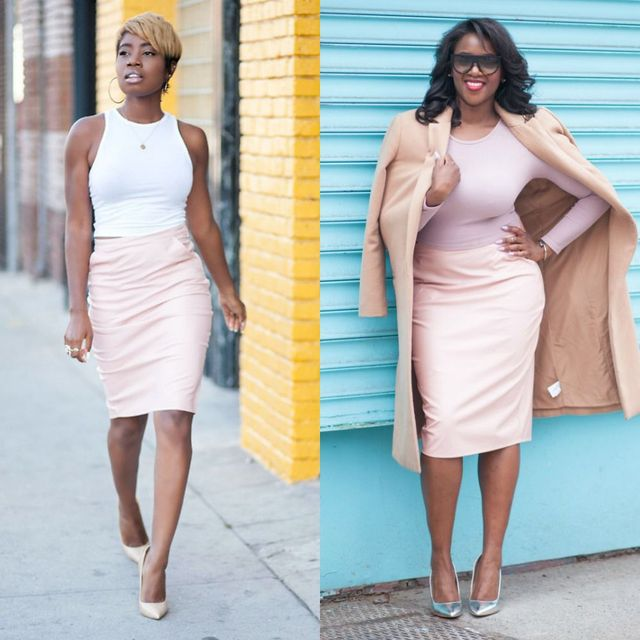 Pink leather pencil skirts outfits