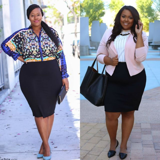 Plus size black pencil skirt outfit ideas