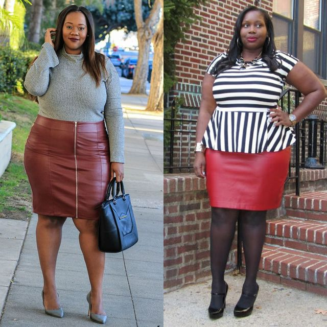 Leather skirt outfits for plus size women