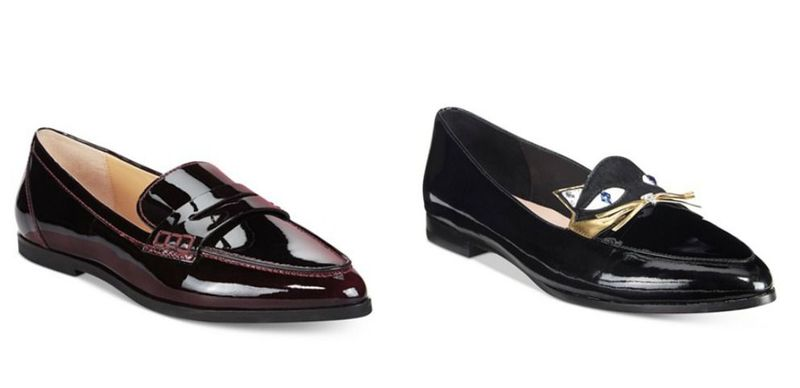 Black pointed flat shoes for women
