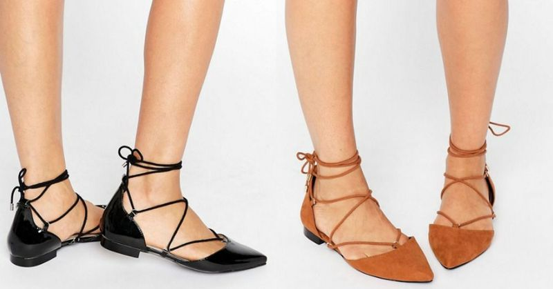 Pointed toe flats lace up for women