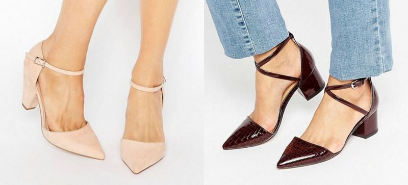 Pointed toe heels with ankle strap for ladies