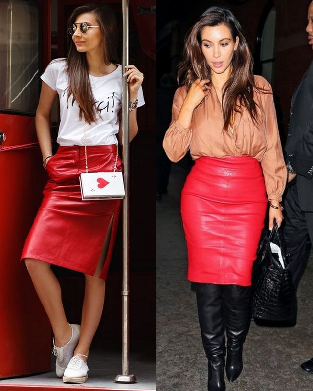 Incorporate the red leather skirt in your daily outfits