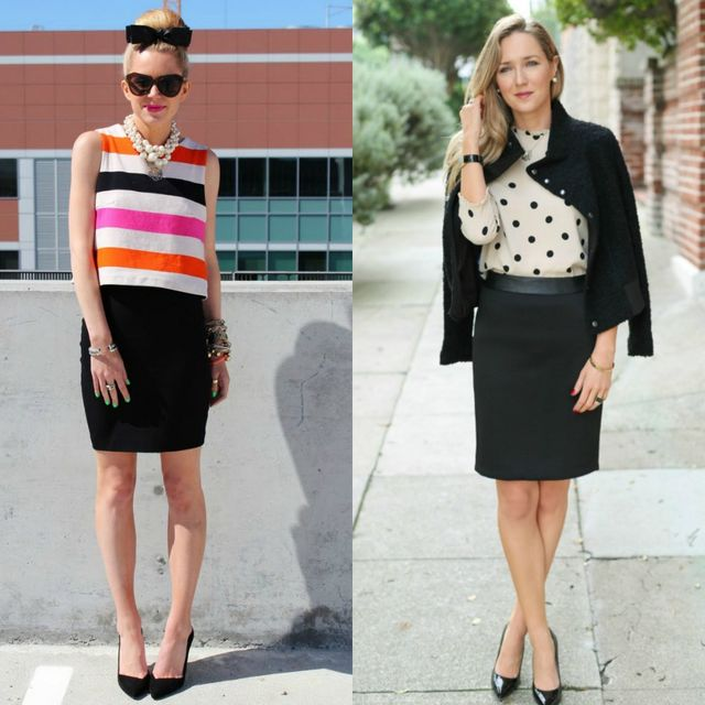 Short black pencil skirt
