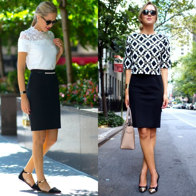 Short black pencil skirt outfit