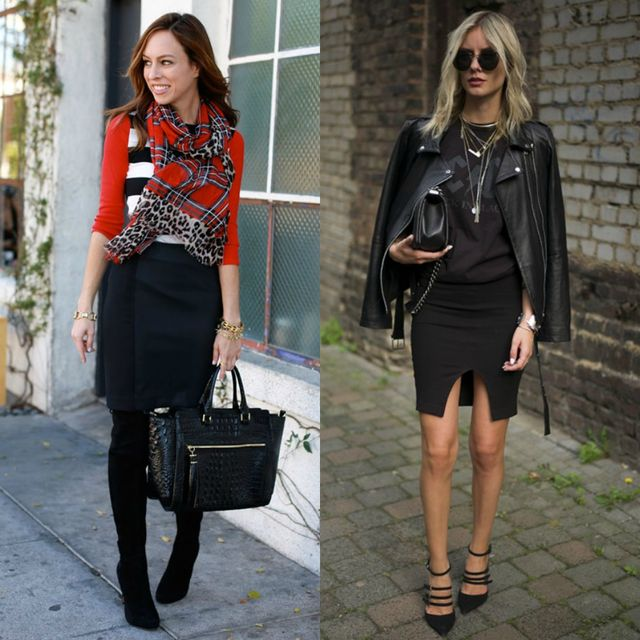 Short black pencil skirt outfit ideas