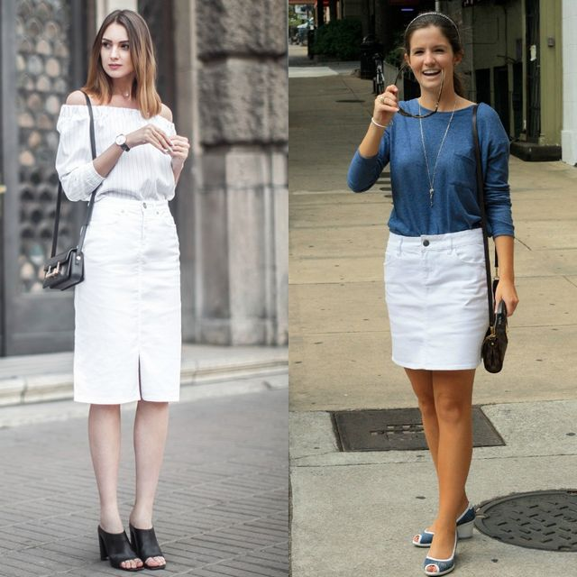 White denim pencil skirt outfits