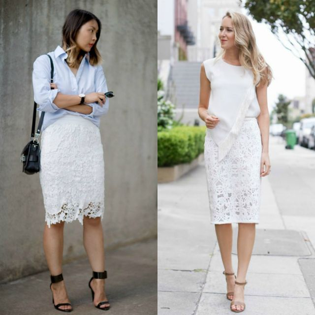 What to wear with a white lace skirt