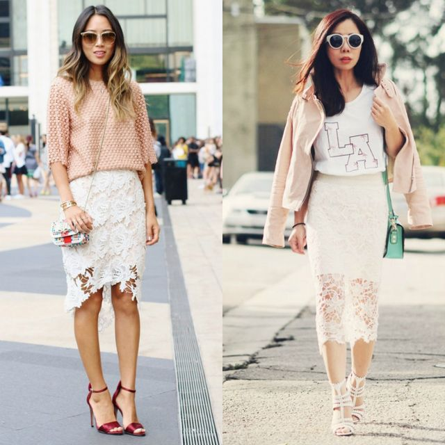 What to wear with a white lace pencil skirt