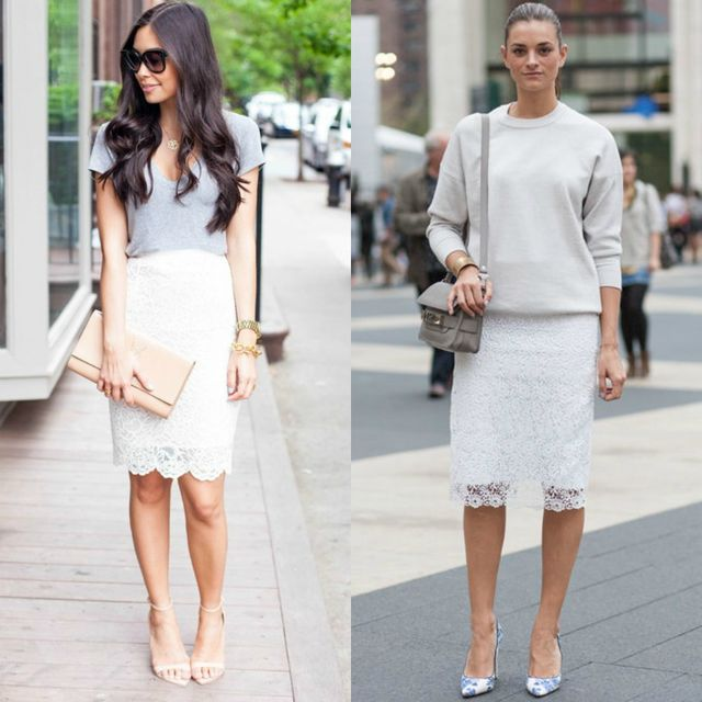 Midi white pencil skirt outfits