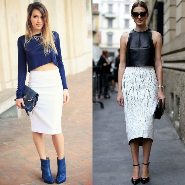 Long white pencil skirt outfit with crop tops