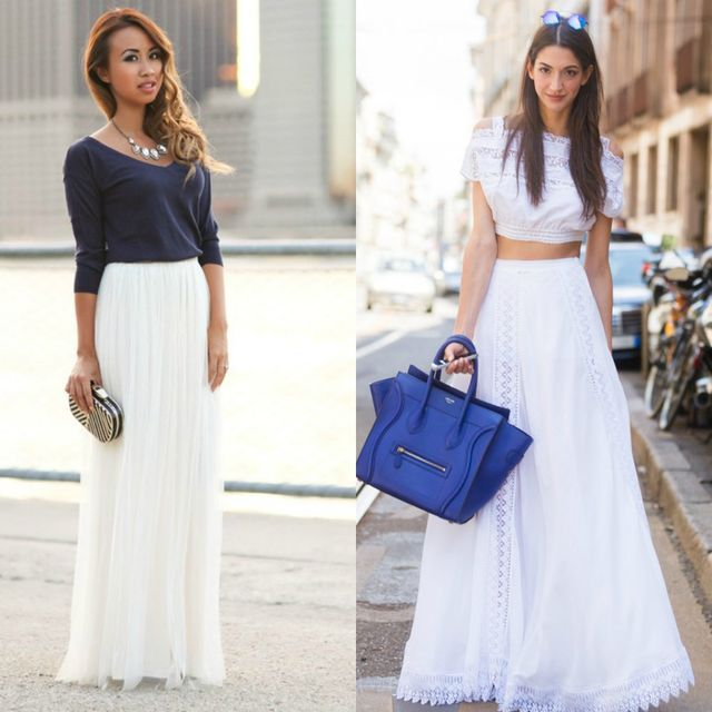 White skirt outfits | Maxi skirt outfit ideas