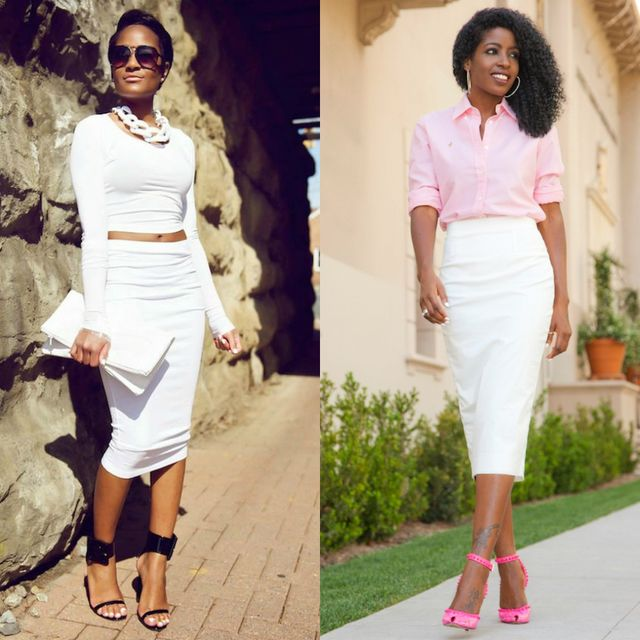 What to wear with a white pencil skirt during summer