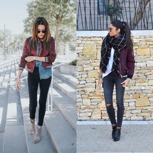 Cute outfits with black skinny jeans and bomber jacket