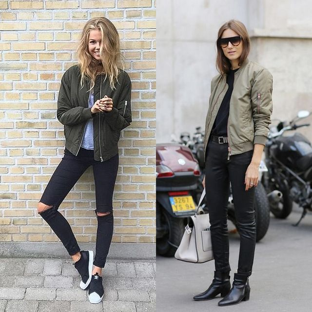 Outfits with black skinny jeans and kaki bomber jacket