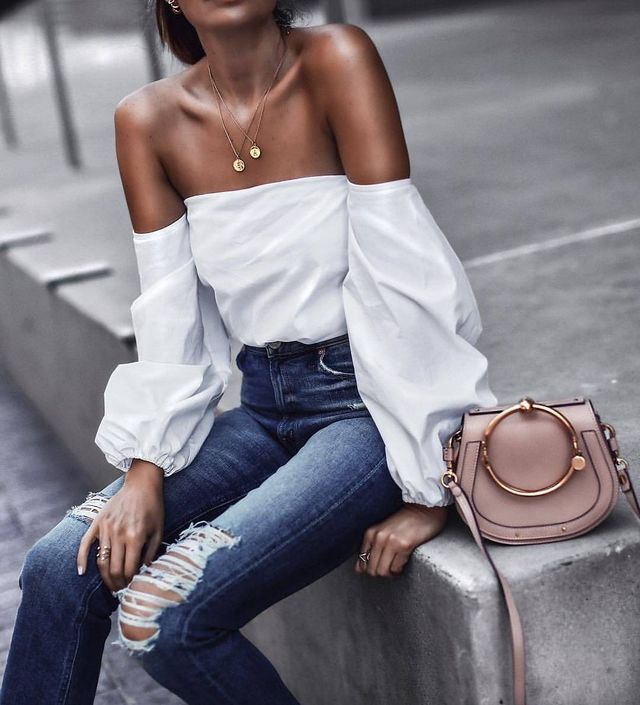 Summer outfit with jeans and this beautiful off shoulders white blouse