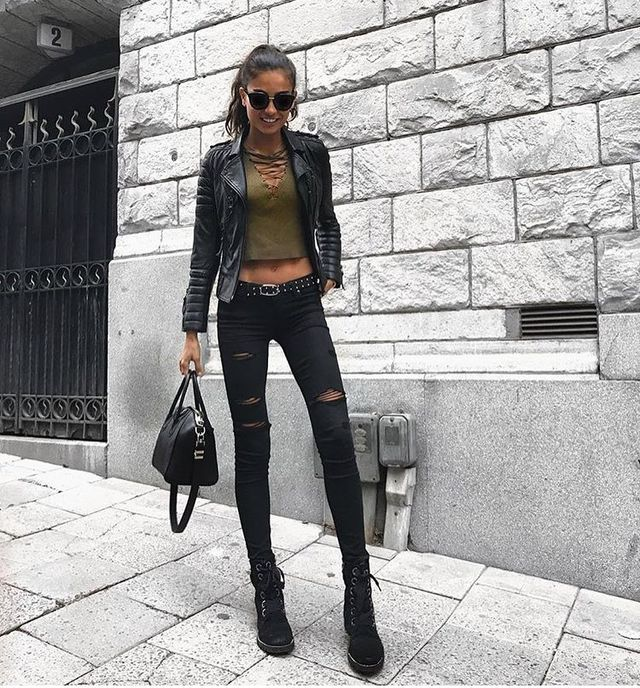 Club wear with black jeans and leather jacket