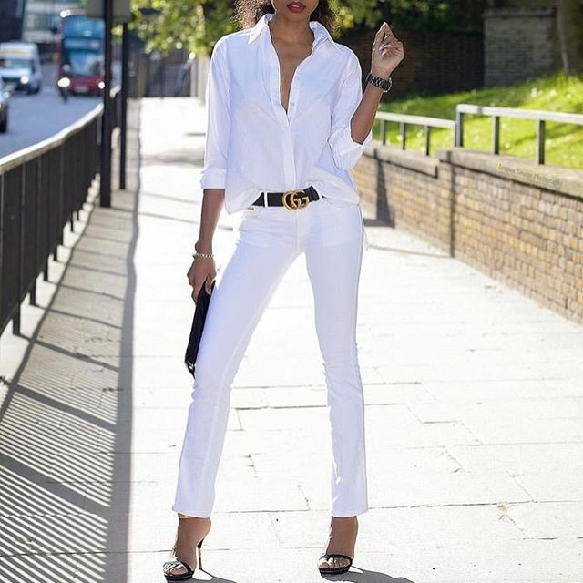 All white club outfit with jeans