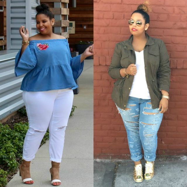 Spring plus size outfit ideas with plus size jeans