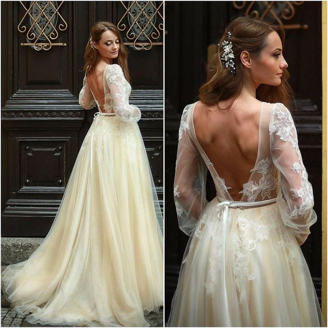 Best Wedding Dresses | Wedding dresses with lace sleeves and open back