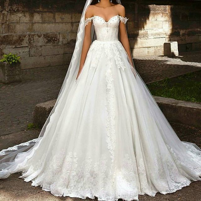 Best Wedding Dresses | Wedding dresses with lace sleeves off the shoulder