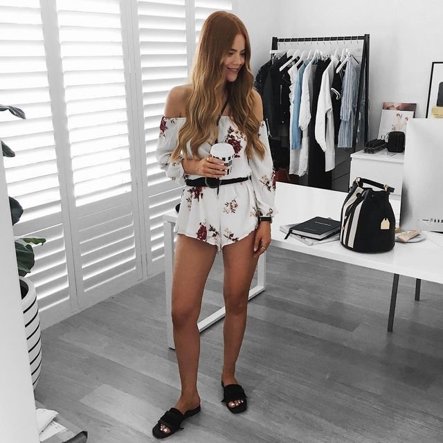 Long sleeves floral romper outfit