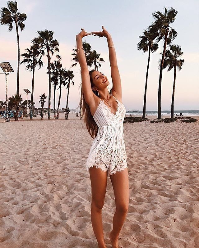 Summer white lace romper outfit