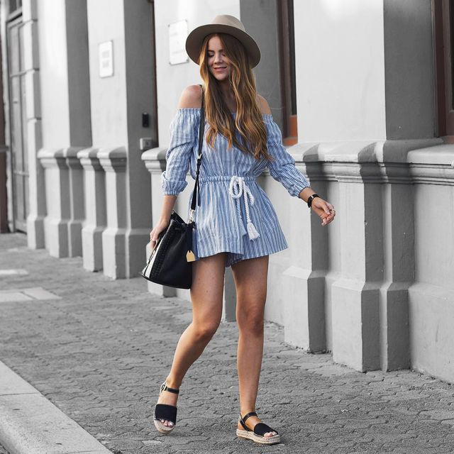 Striped long sleeve romper outfit