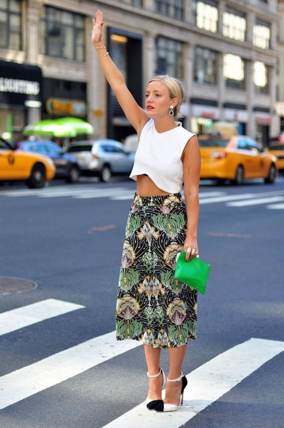 Floral printed cropped trousers with cropped white shirt
