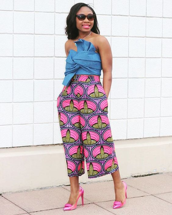 Culottes with vibrant shades and off shoulders top