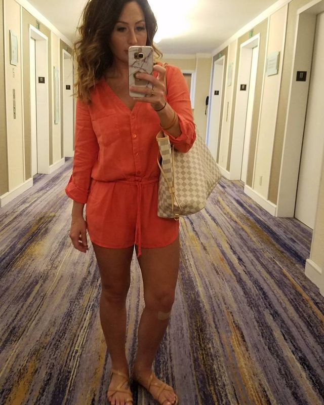 How to style a orange romper in summer
