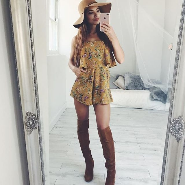How to wear a romper with boots