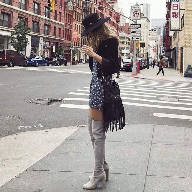 How to wear rompers with over the knee boots