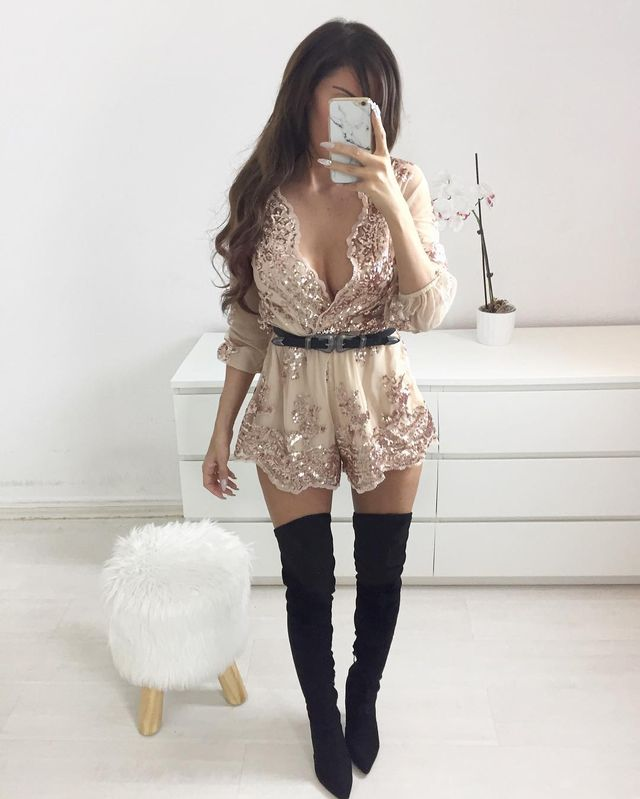 Romper with tights and boots