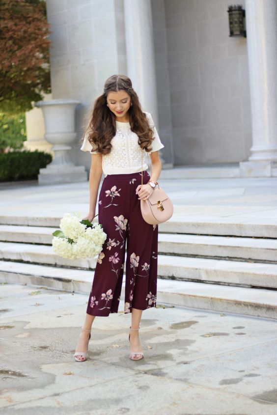 Pair of printed culottes and a nice block-colored T-shirt
