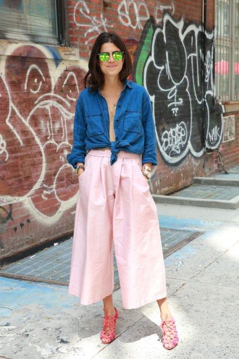 Culottes look amazing when combined with a denim or light colored shirt