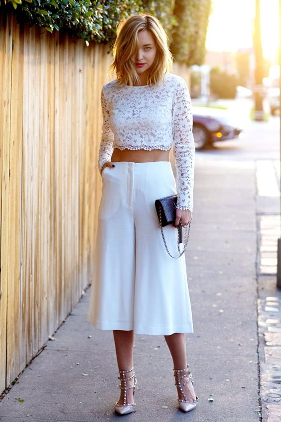 A chic pair of culottes and a fitting lace cropped blouse