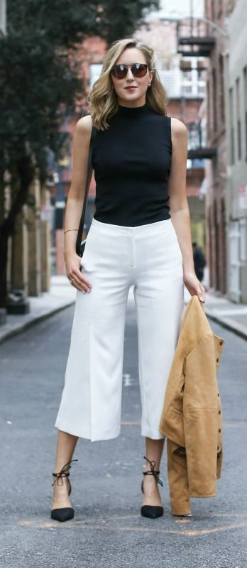 What Top To Wear With Culottes | Black tank and white culottes are extremely fashionable