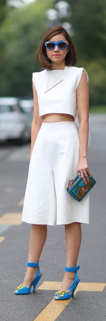 White ensemble set with culottes