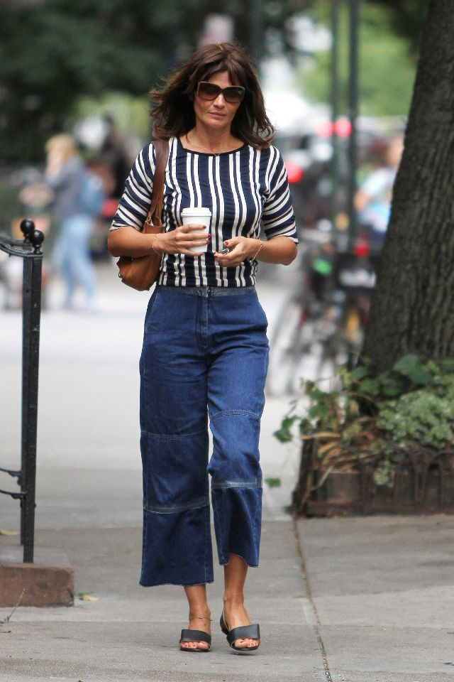 Denim culottes with a black and white t-shirt