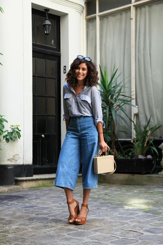 Chic shirt, denim culottes and wedges