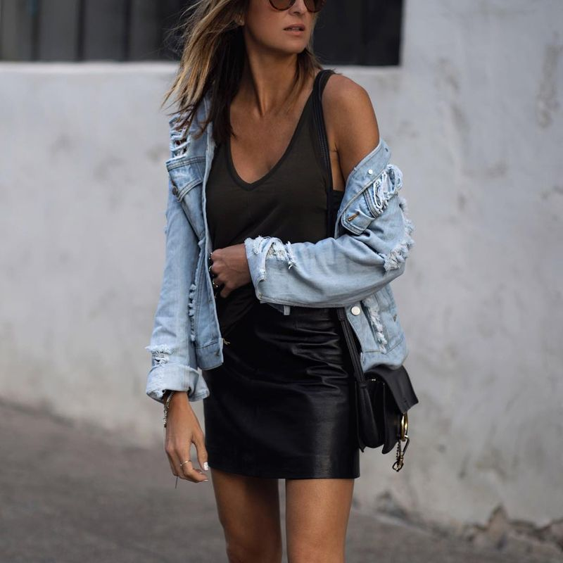 Summer going out outfits with faux leather mini skirts look gorgeous with tank tops and a ripped denim jacket